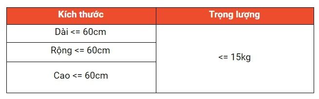 Bảng kích thước hàng hóa được phép vận chuyển của Shopee Express