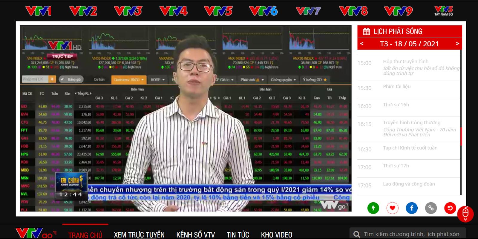 Giao diện chính của website VTVgo.vn