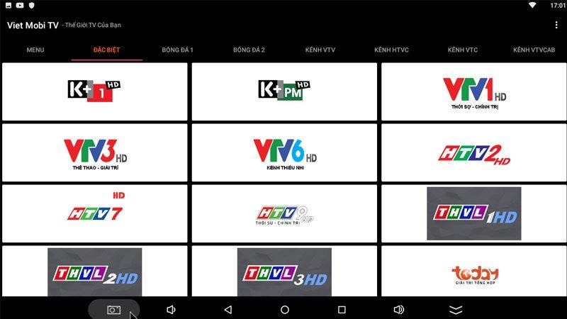 Giao diện phần mềm Viet Mobi TV
