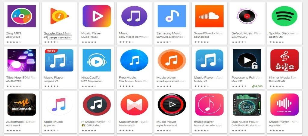 Các ứng dụng nghe nhạc phổ biến
