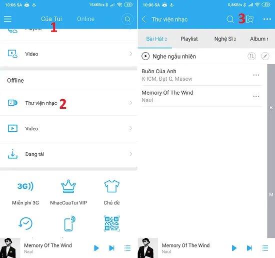 NhacCuaTui cho phép nghe nhạc Offline chỉ cần vài thao tác đơn giản