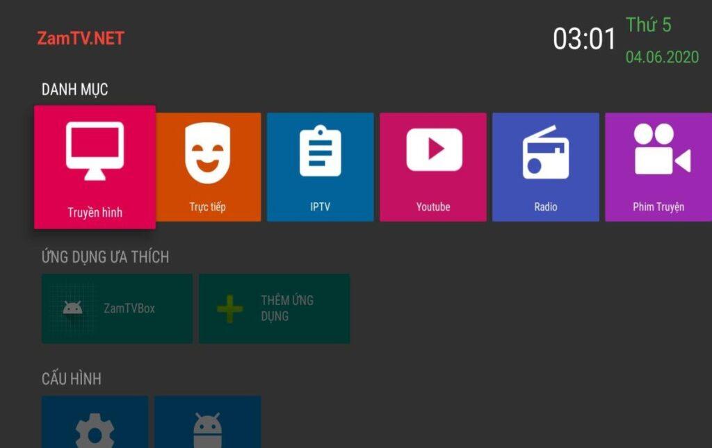 Phần mềm xem tivi online trên điện thoại ZamTV