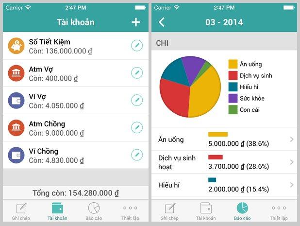 Phần mềm quản lý tài chính cá nhân sổ thu chi Misa