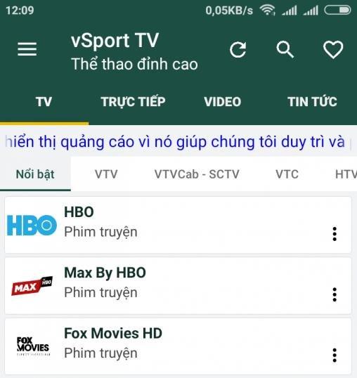 Phần mềm xem tivi online trên điện thoại vSport TV