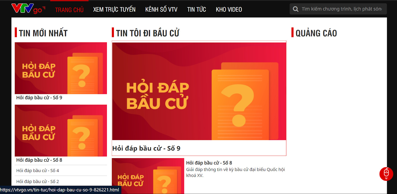 Sự kiện Bầu cử toàn dân 23/05/2021 được cập nhật liên tục trên VTVgo.vn
