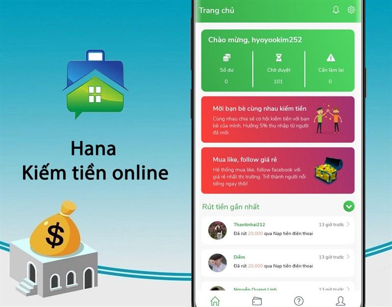 Ứng dụng Hana - Kiếm tiền online tại nhà không cần vốn