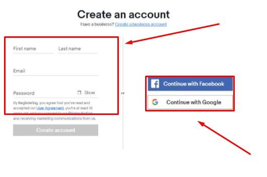 Tạo tài khoàn ebay bằng cách nhập hoặc bằng Facebook và Google