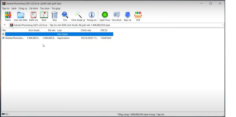 Giải nén file có chứa Adobe Lightroom CC