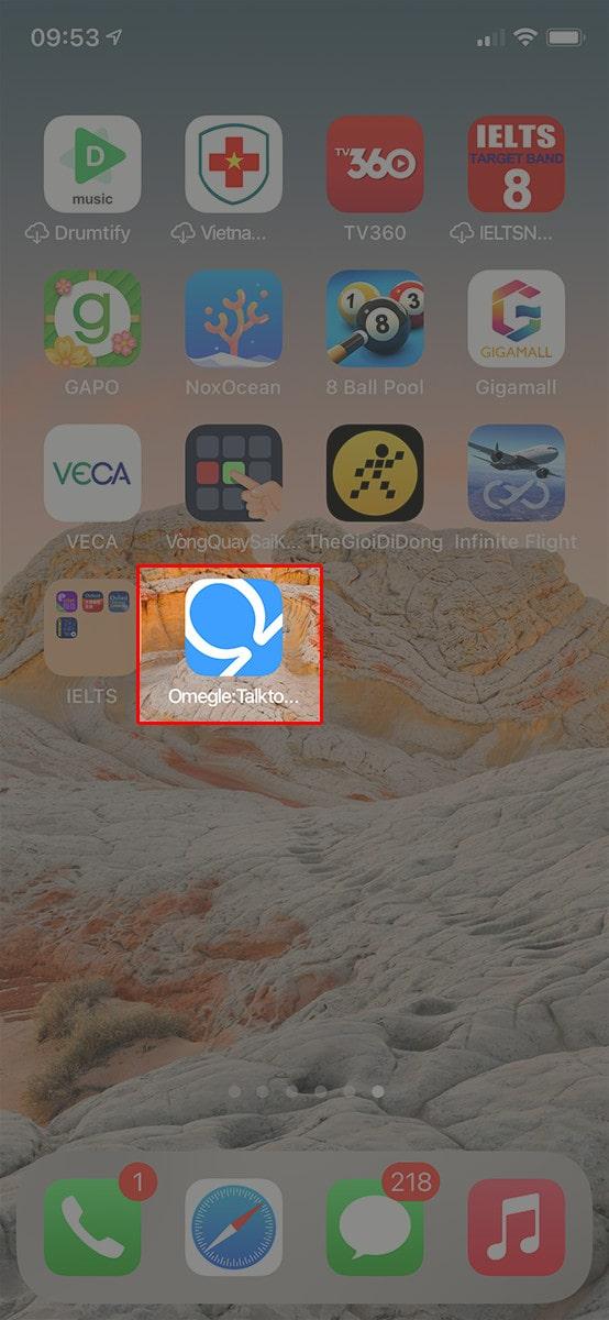 Thêm ứng dụng Omegle vào màn hình chính