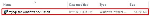 Chay file cài đặt MySQL