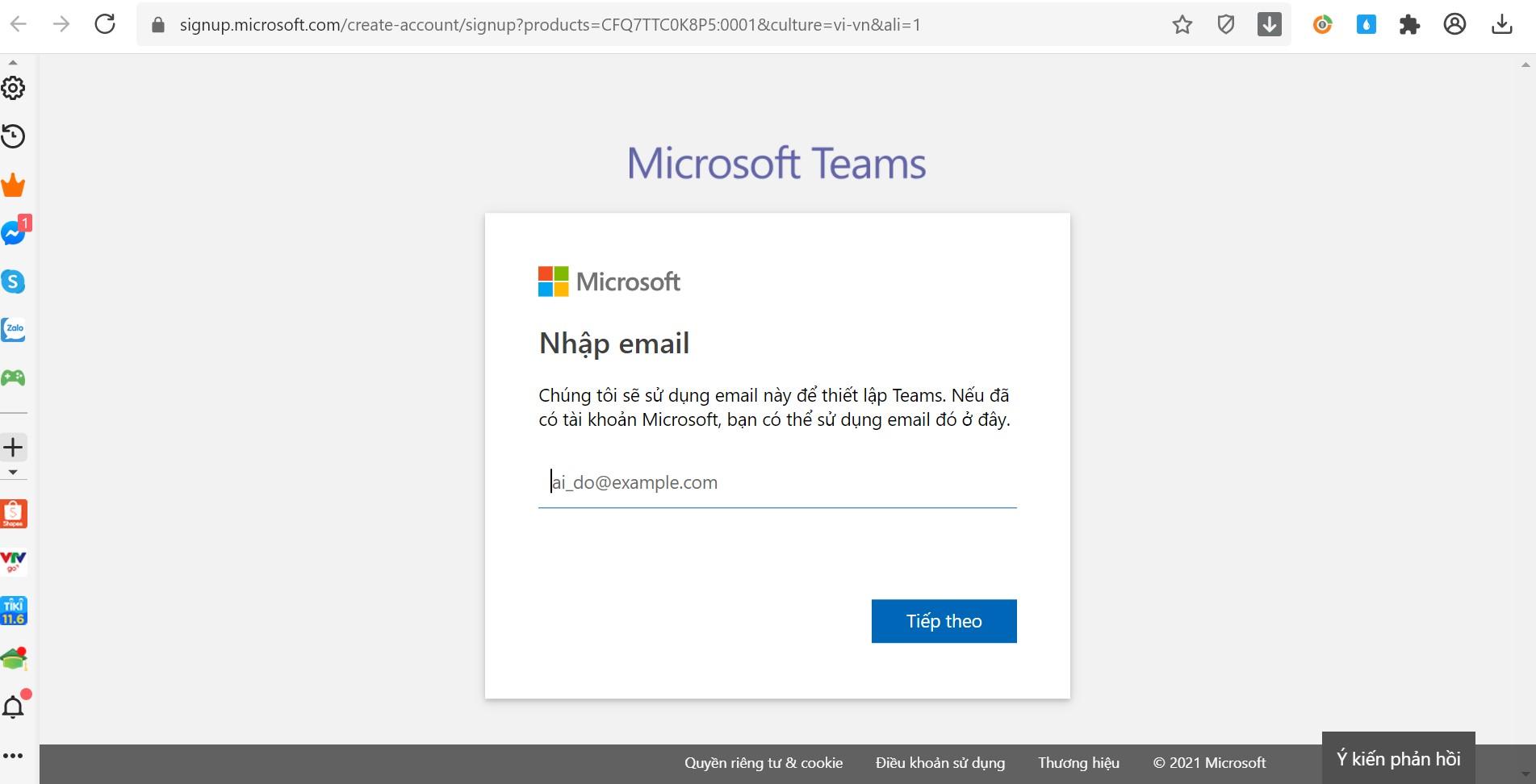 Đăng kí Microsoft Teams