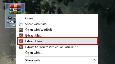 giải nén file chứa Visual Basic Express