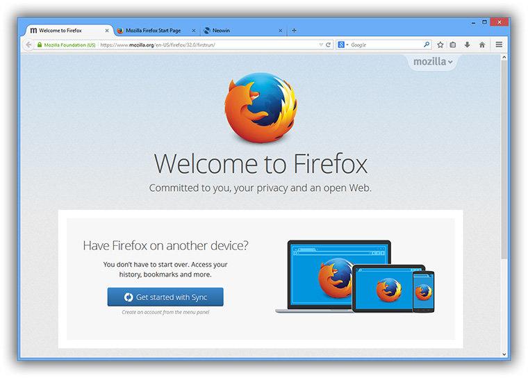 Giao diện của trình duyệt FireFox