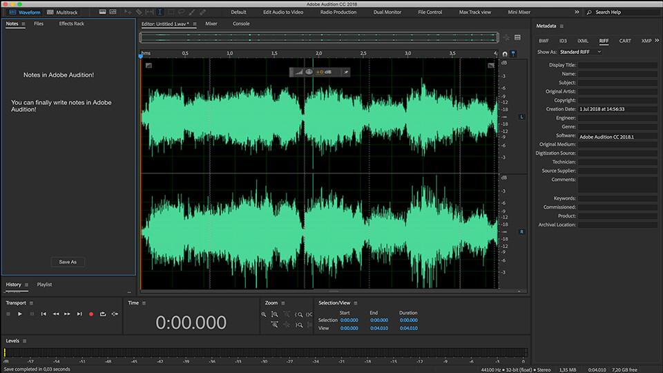 Giao diện phần mềm Adobe Audition