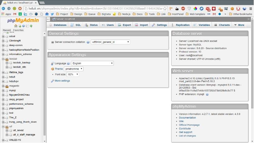 giao diện phần mềm MySQL