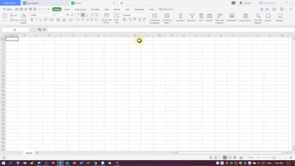 Giao diện chính của WPS Spreadsheet