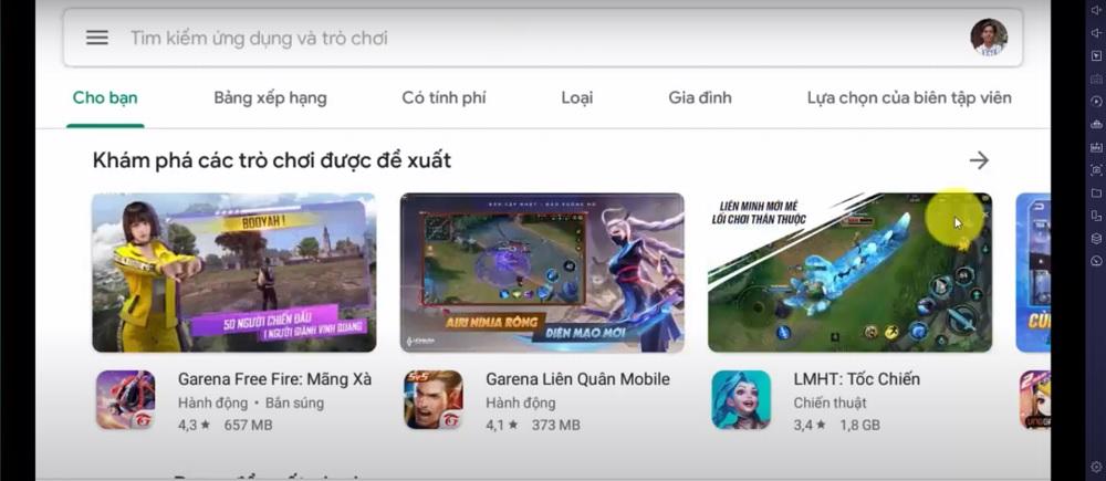 Giao diện chính của Google Play