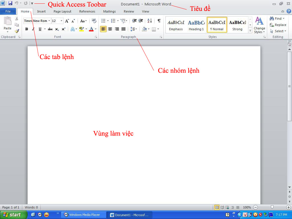 Giao diện chính của Word 10