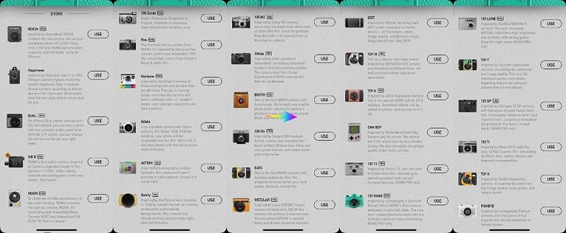 Các kiểu máy ảnh trong Nomo