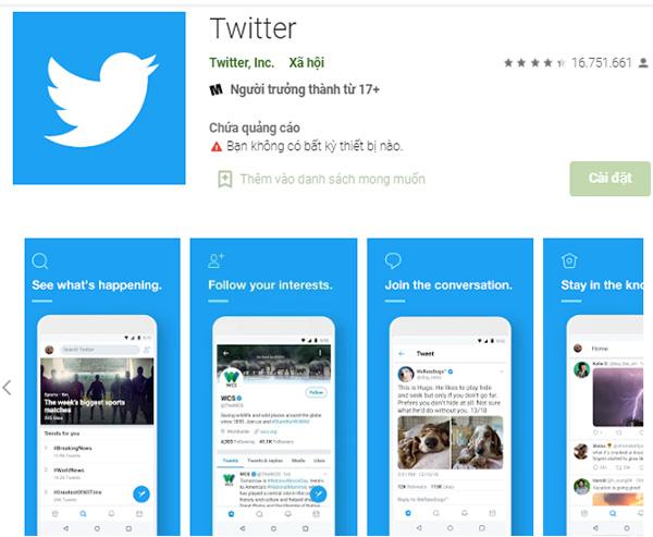 Cài đặt Twitter chỉ bằng vài thao tác đơn giản