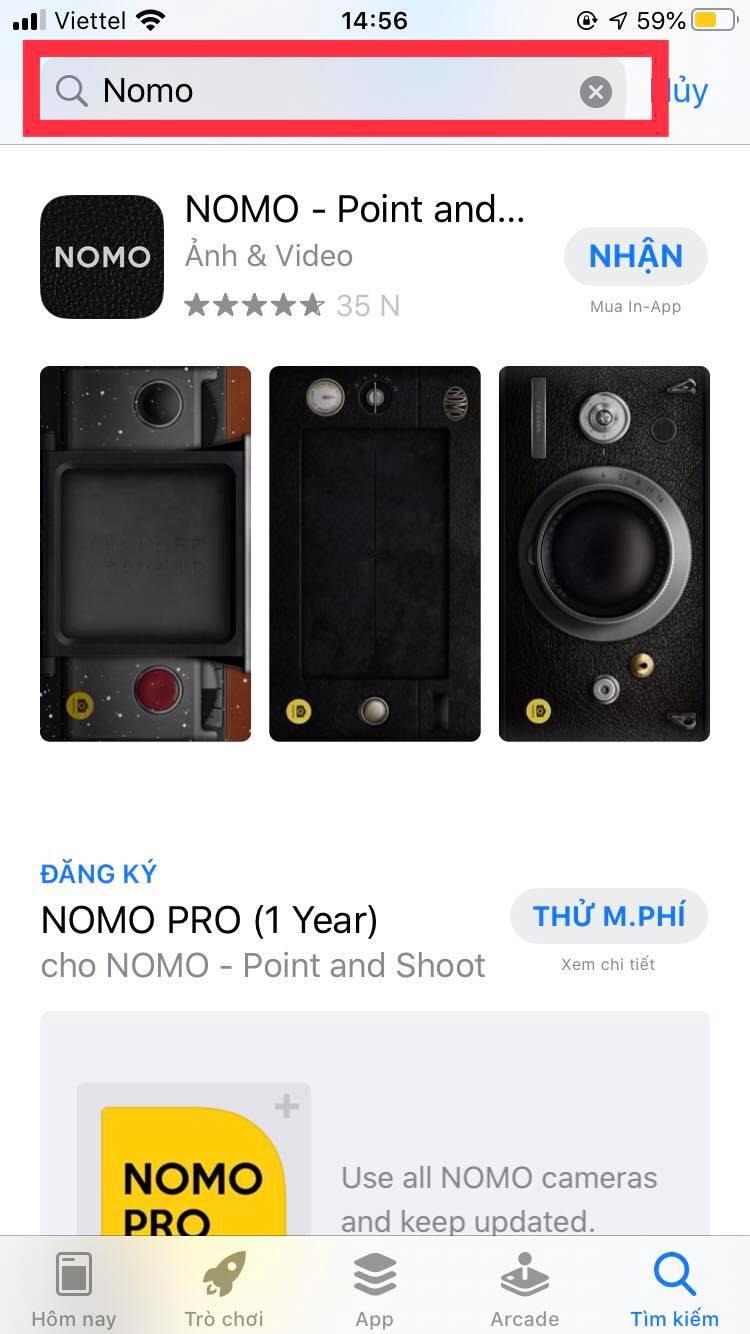 Nhập từ khóa Nomo trên thành tìm kiếm