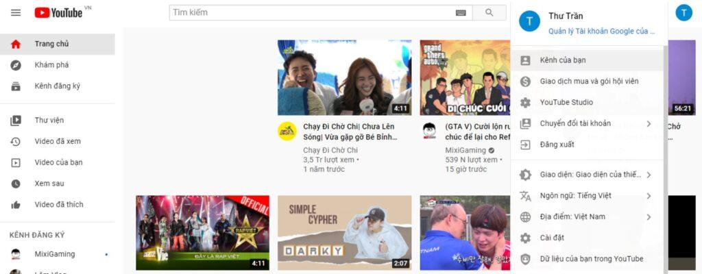 Giao diện tạo kênh Youtube đơn giản