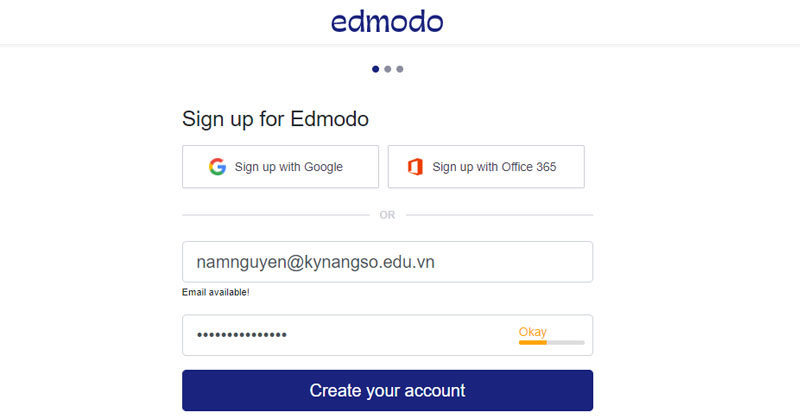Nhập thông tin về Email và Password vào mục