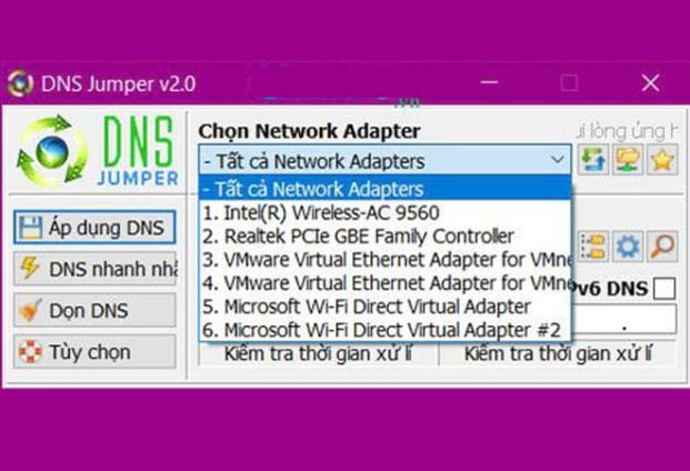 "Chọn ""tất cả Network Adapters"""