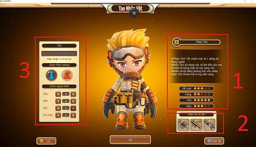 Chọn lựa nhân vật trong avatar star