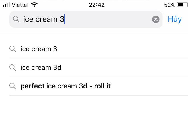 """mục tìm kiếm và nhập """"ice cream 3"""""""