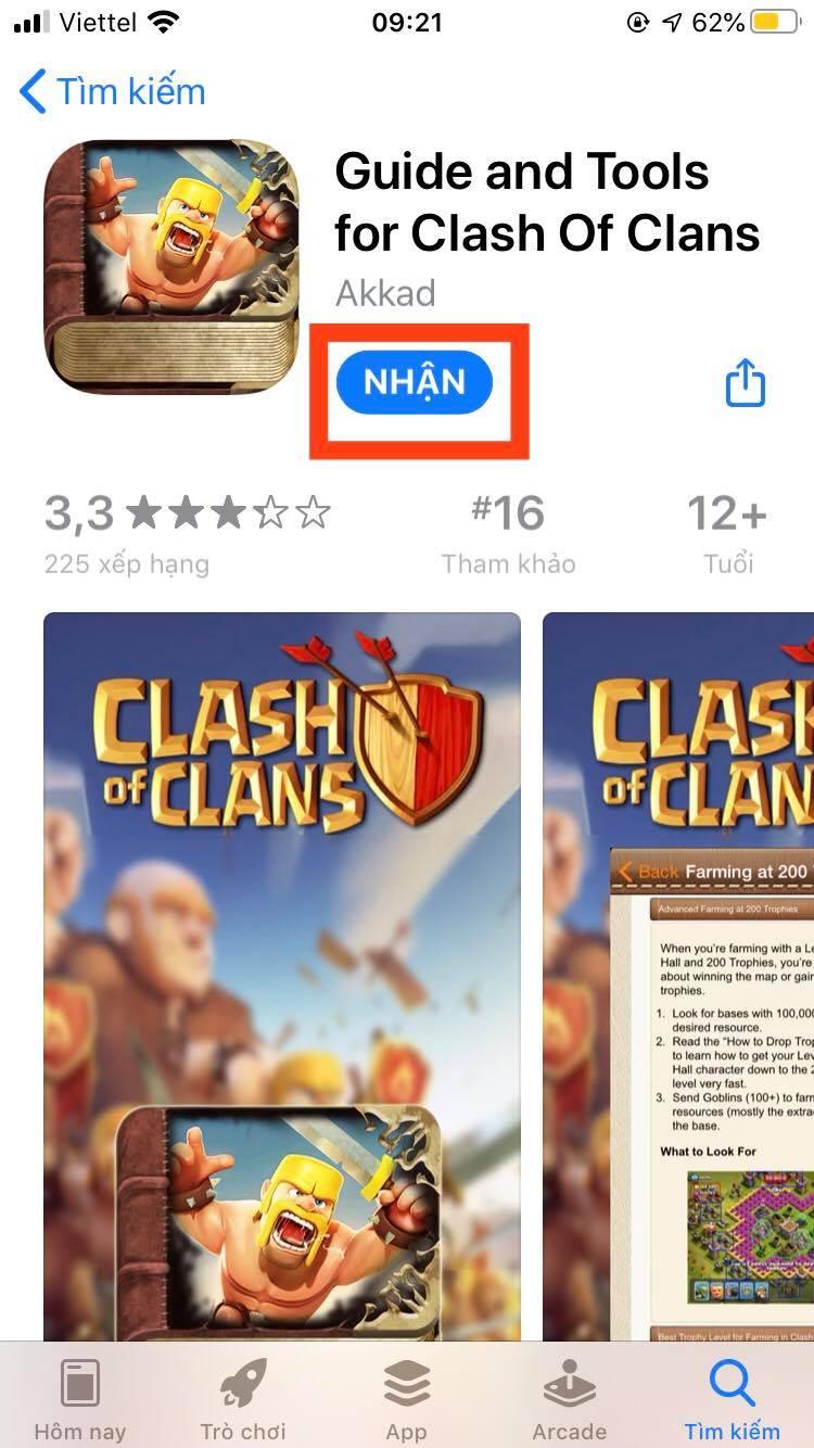 Nhấn nhận để tải clash of clans