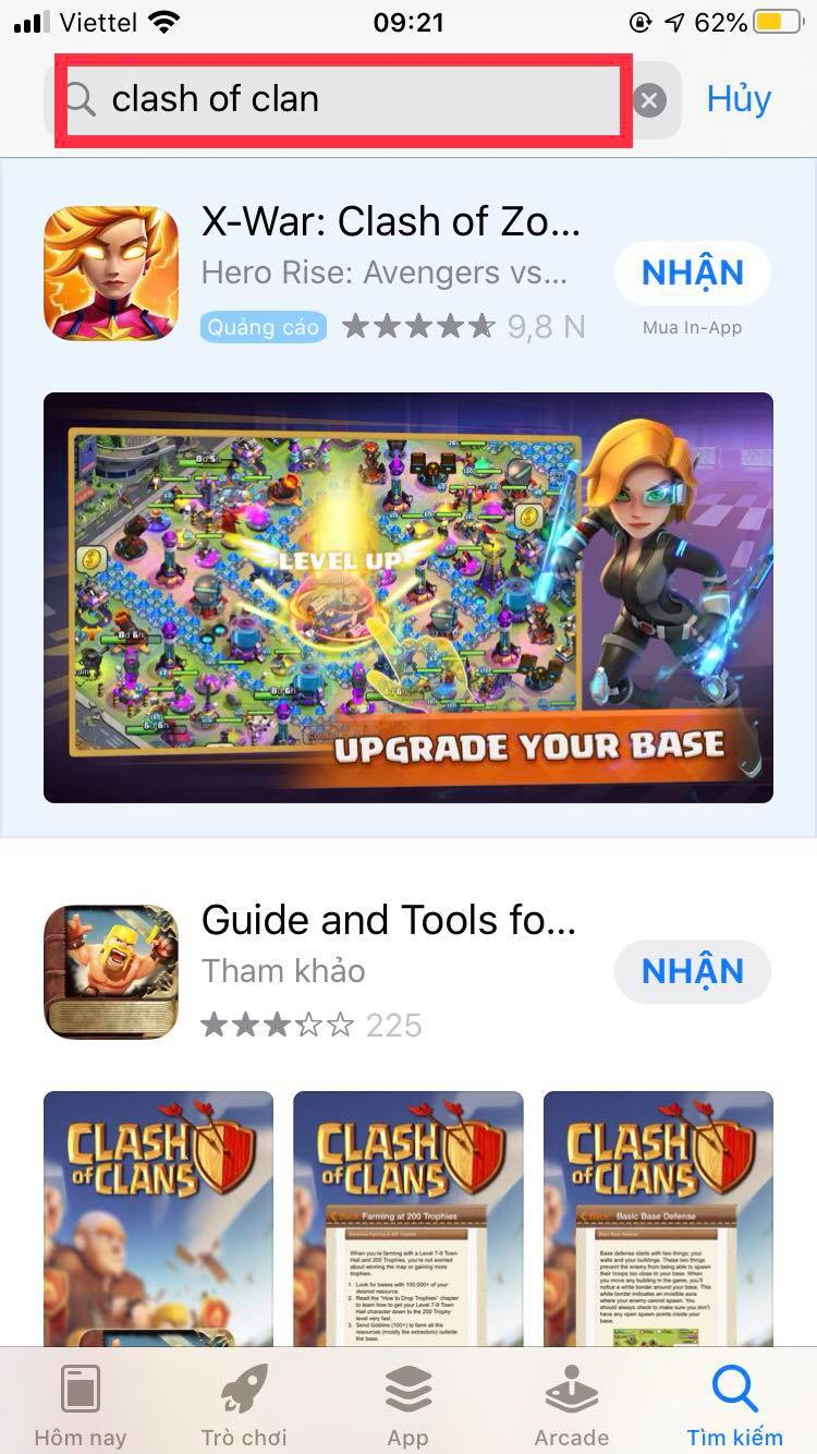 Tìm kiếm game trên appstore