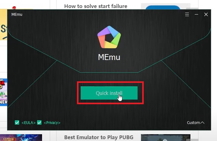 Nhấn Quick install để cài đặt