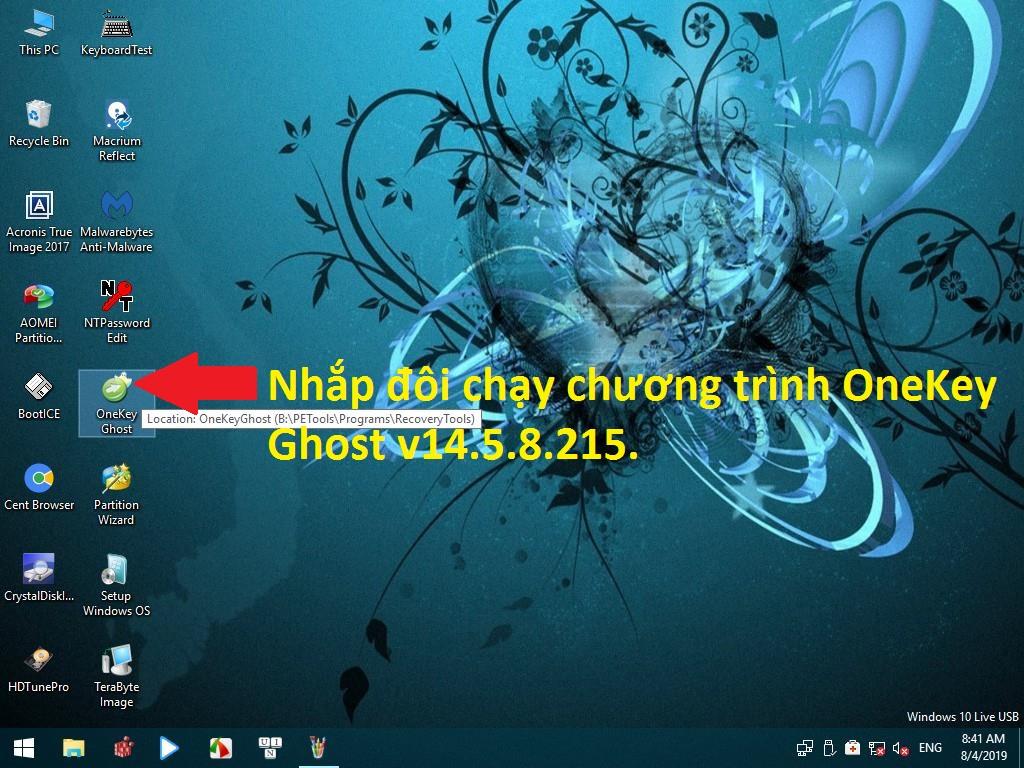 Biểu tượng Onekey Ghost trên màn hình máy tính