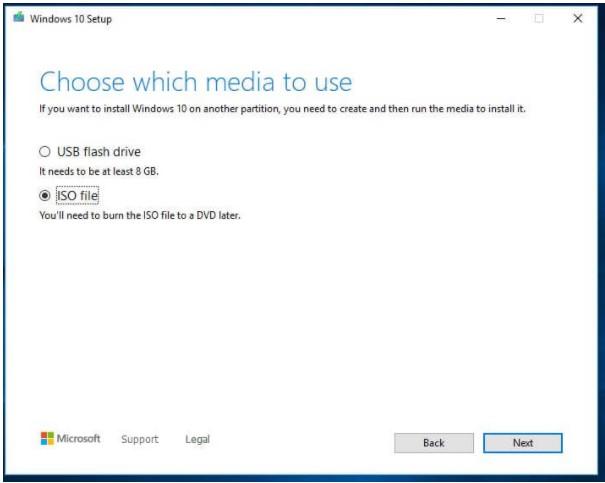 Chọn ISO File -> Nhấn Next