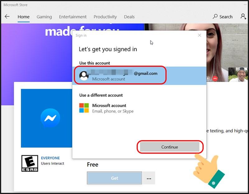 Tiến hành đăng nhập bằng tài khoản Microsoft đã tạo