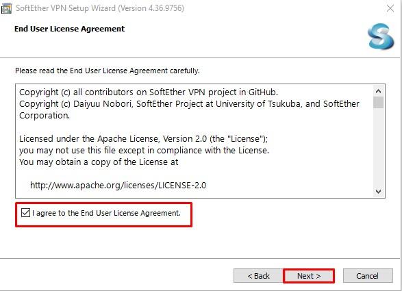 """tick vào ô """"I agree to the End User License Agreement"""" rồi nhấn """"next"""