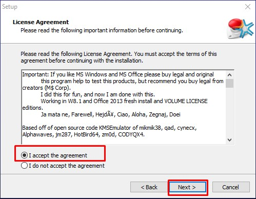 Chọn I accept the agreement → Next.