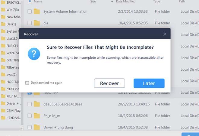 """Chọn tiếp vào """"recover"""" để khôi phục"""
