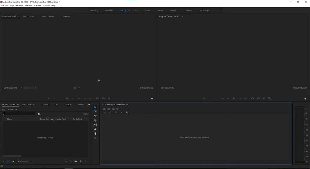 Giao diện phần mềm adobe media encoder