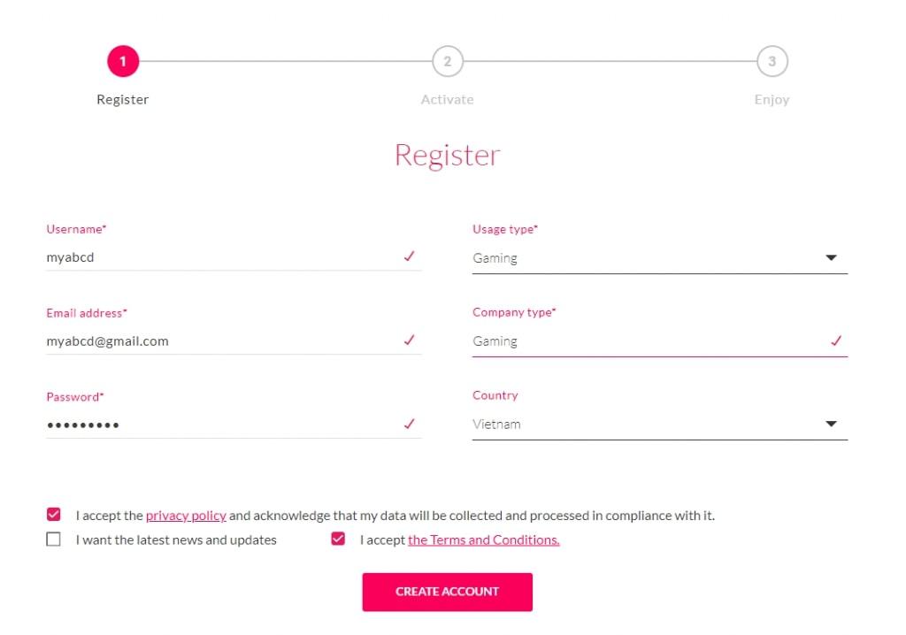 Tạo tên tài khoản để đăng nhập