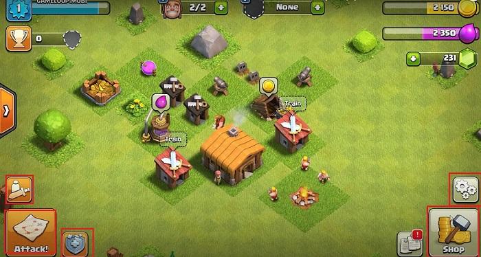 Giao diện khi chơi clash of clans