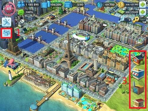 Giao diện khi chơi của SimCity