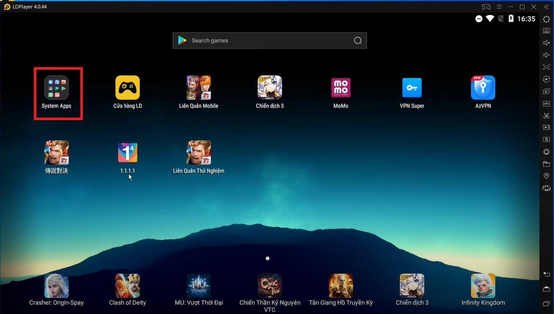 Giao diện chính của phần mềm LDplayer