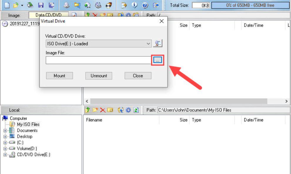 Giao diện tiến hành mở file ISO