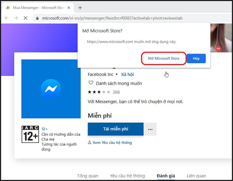 "ấn chọn ""Mở Microsoft Store"""