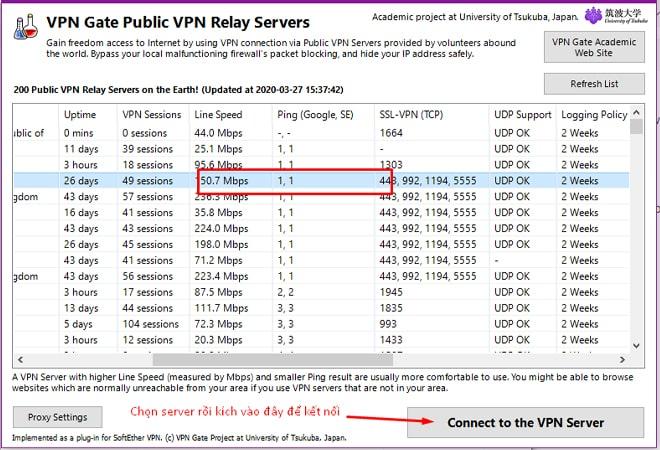 Chọn server kết nối