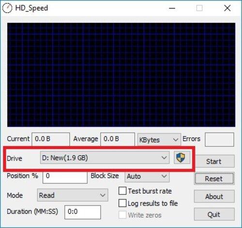 Giao diện chọn ổ đĩa trên HD Speed