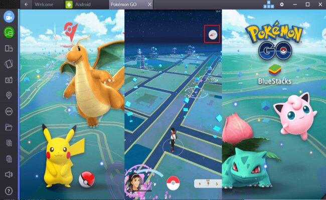 Giao diện chơi game bắt Pokemon trên BlueStacks
