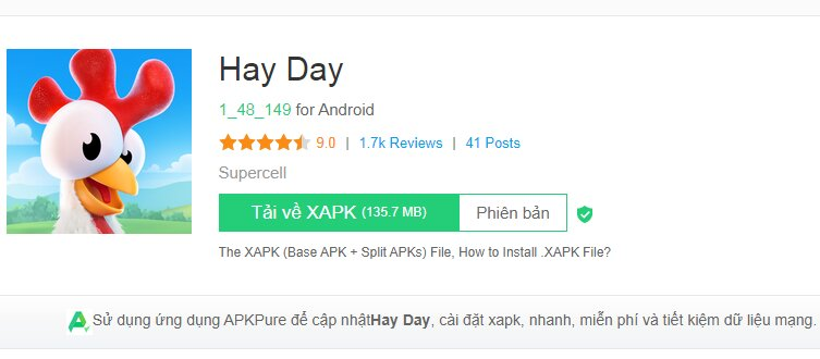 Giao diện tải Hay Day bằng Apkpure